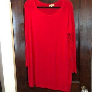 Red long sleeve t shirt dress